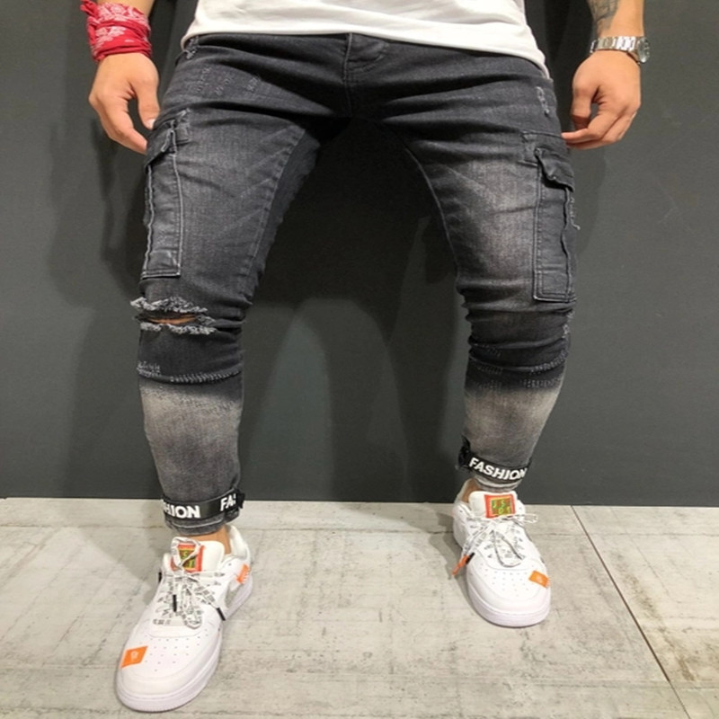 Men's Fashion Vintage Ripped   Jeans   Super Skinny Slim Fit Pockets Denim Pant Destroyed Cuffed Trousers Gothic Style Pants