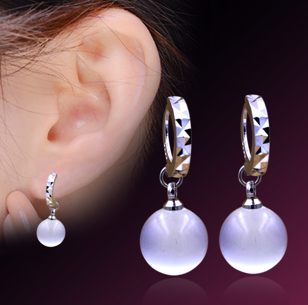 925 Sterling Silver Round Natural Crystal Ear Stud Drop Earrings Elegant Jewelry