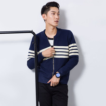 new males's knitting cardigan zippers o-neck lengthy sleeve slim striped pullovers