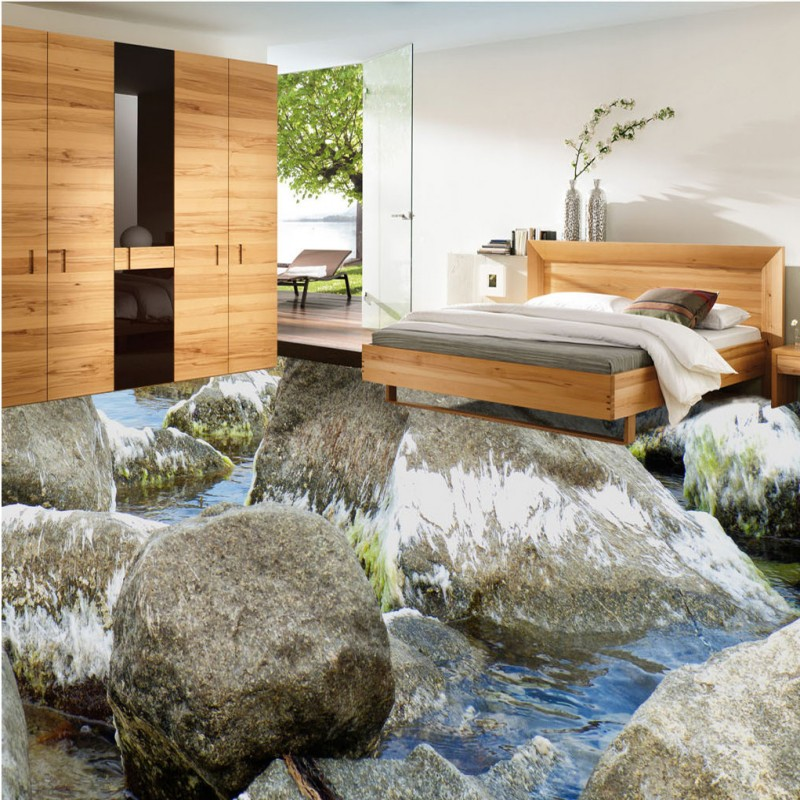 ФОТО Free Shipping Stone Shoal Coast 3D bathroom floor thickened non-slip bedroom study office living room flooring wallpaper mural