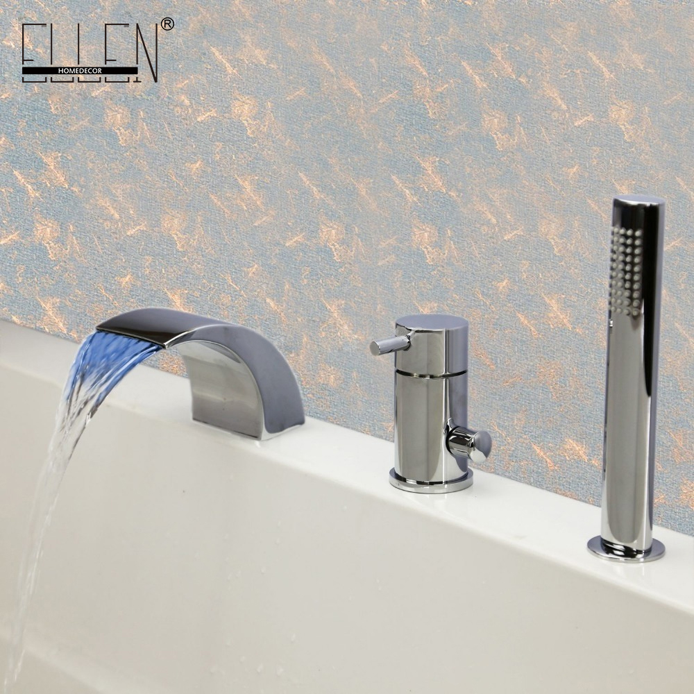 Single Handle Bathtub Mixer Temperature Controlled Bathtub Faucet Led Light Waterfall 3 Piece