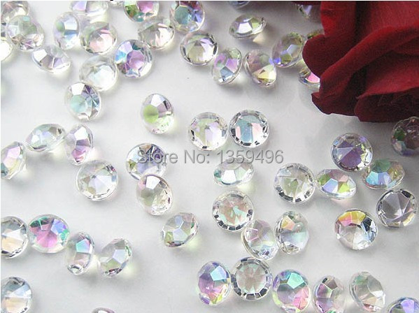 Free Shipping ! 1000 Pcs / Lot AB Colorful 4.5mm 1/3 Carat Acrylic Crystal Diamond Confetti Wedding Party Decoration