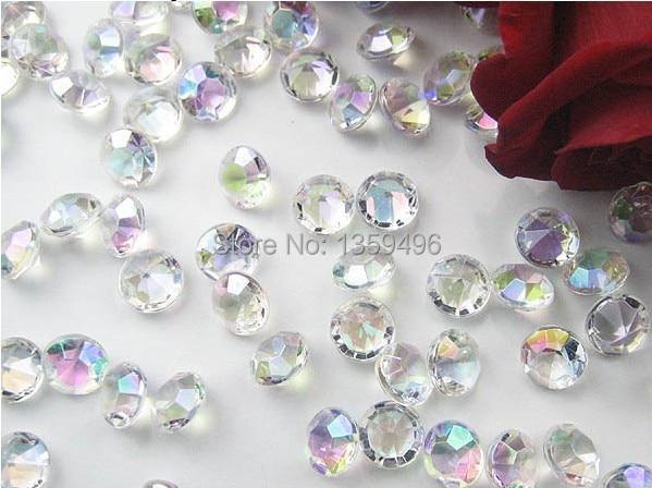 Free Shipping ! 1000 Pcs / Lot AB Colorful 4.5mm 1/3 Carat Acrylic Crystal Diamond Confetti Wedding Party Decoration