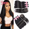 Indian Straight Virgin Hair With Closure 4 Bundles Queen Hair Products With Closure Raw Indian Virgin Hair With Lace Closure 1b