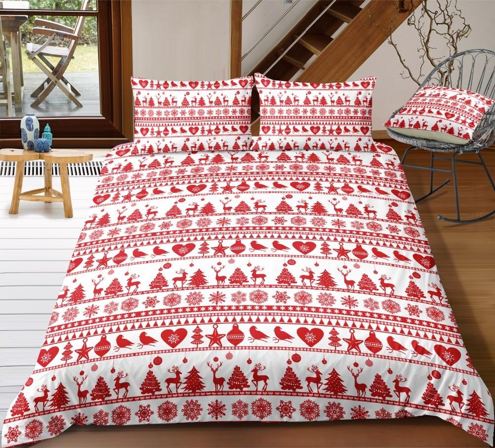 NOEL RED CHRISTMAS QUILT/DUVET COVER SETS BEDDING SETS BED LINEN GREAT VALUE