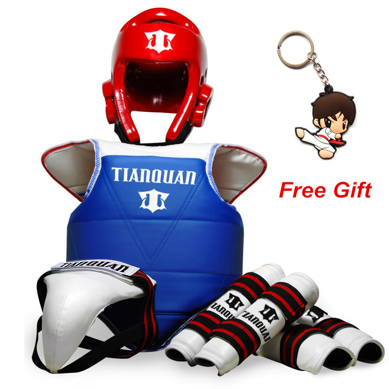 Hot Sale Adult Children Thickening Taekwondo Protector 5 Piece HeadGear Helmet Full protective Taekwondo Guard Bag taekwondo protective gear set wtf hand chest protector foot shin arm groin guard helmet 8pcs children adult taekwondo karate set