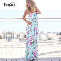 Sexy Ladies Dress Strapless Sleeveless Long Dress 2017 Summer Beach Flower Print Maxi Women Sundresses