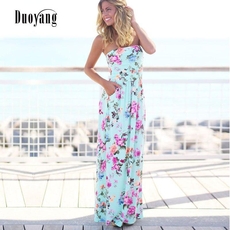 503666a9f Mulheres Sexy vestido sem alças mangas summer long vestido 2018 novo vestido  de praia floral impressão