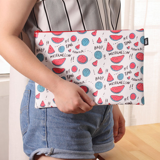 1Pc Waterproof PU Leather Folder Cute Mini File Bag Document Manila Stationery Filing Products
