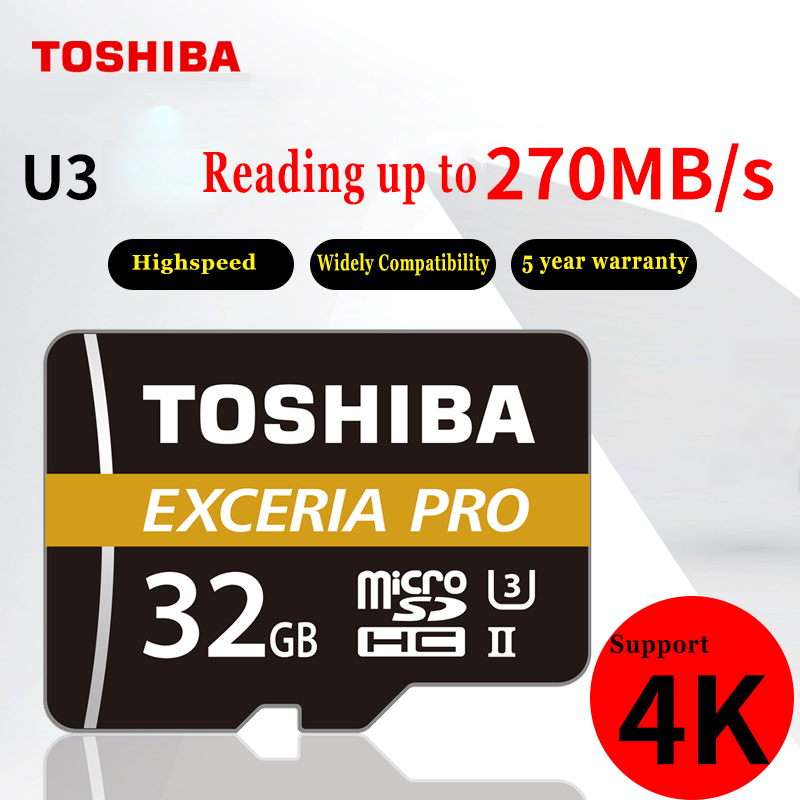 TOSHIBA M501 EXCERIA PRO U3 Memory Card Micro SD 32GB SDHC 64GB SDXC UHS-II Class10 U3 4K HD Read speed up to 270MB/s samsung new evo memory card 16gb 32gb sdhc 64gb 128gb 256gb sdxc tf flash card micro sd cards uhs i class10 c10 u3 free shipping