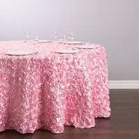 Custom Order Are Welcome Satin Feel 130 inch/330cm Polyester Round Rosette Tablecloth Pink for Ceremony Wedding, 5/Pack