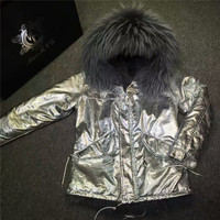 New Women sliver leather jacket with grey fox fur lining coats winter thick warm real fur inside parka