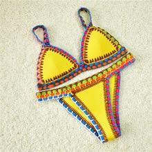 Triángulo sexy bikinis set de baño mujeres ganchillo hecho a mano playa traje de baño traje de baño maillot de bain biquini patchwork w6012
