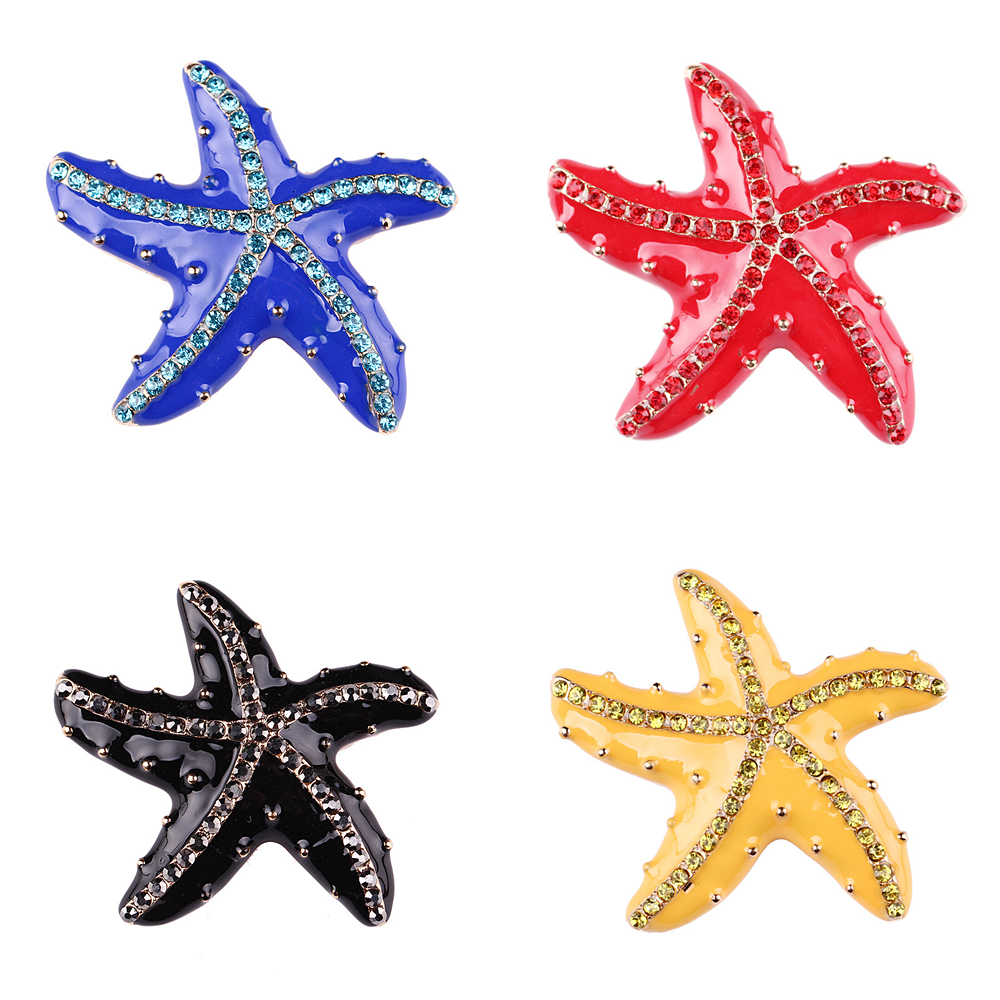 e6c7545c8 OneckOha Rhinestone Starfish Brooches Enameled Asteroid Pin Garment  Accessories Five Colors image