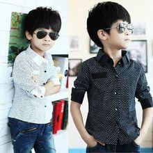 Осень-зима, Строгая рубашка с длинными рукавами для мальчиков, нарядные рубашки в горошек для детей 3-8 лет
