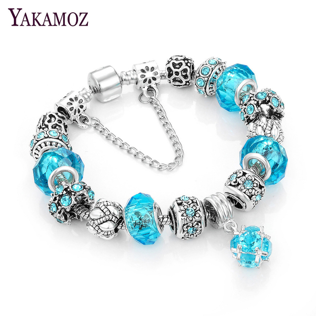 Yakamoz European Charm Beads Bracelet Bangle Authentic Crystal Chain Bracelets For Women S Diy Silver Color Jewelry 2017
