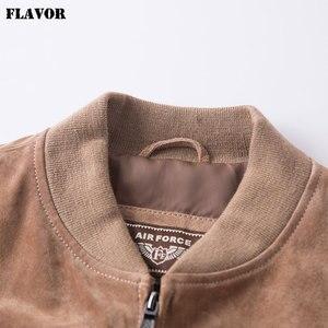 Image 4 - FLAVOR Men klasyczny prawdziwy świński płaszcz prawdziwy Baseball Bomber skórzana kurtka