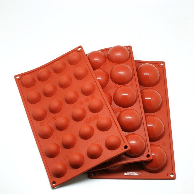 1pcs Baking Tool Silicone Cake Mold Hemispherical Chocolate Jelly 6 Cavity / 8 15 24 Color random