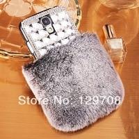Bling Big Rhinestone Crystal Diamond Flash Retail Soft Genuine Rabbit Fur Case For Galaxy S3 S4