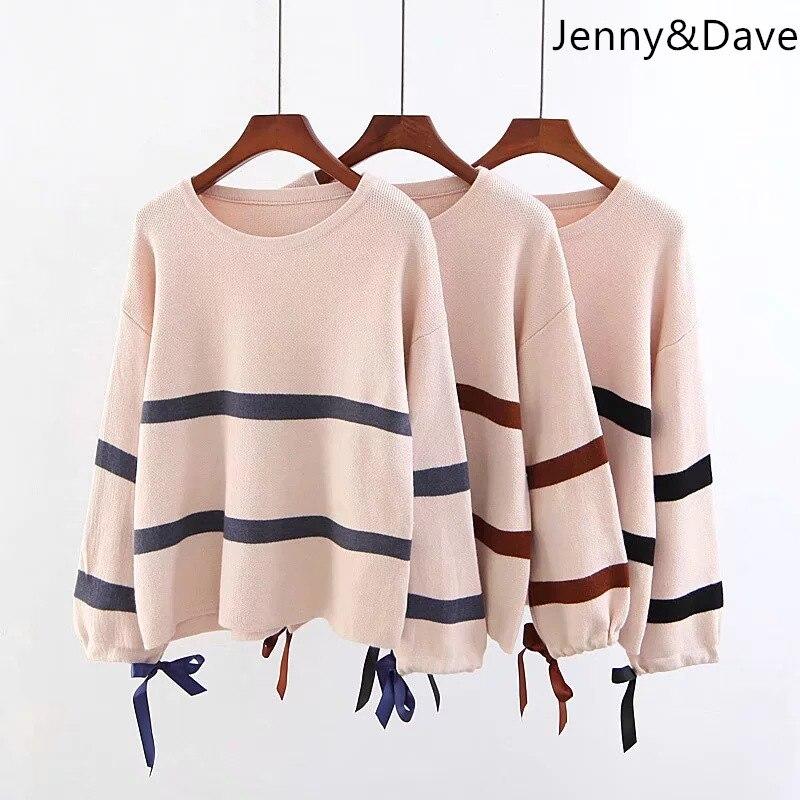 Jenny et Dave 2018 angleterre style sweate automne et d'hiver arc tôlé rayé o-cou régulier en jachère pulls Femmes de chandail 0906