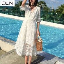Dress Korean vestidos new arrival summer OLN 2019 Bali lace openwork fringed dress holiday slim