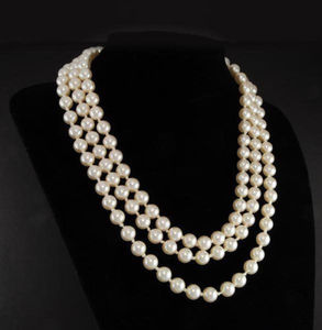"""Image 1 - First Lady Triple Strand real White Pearl Necklace 17 19"""""""
