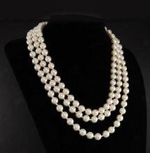 """Pierwsza dama Triple Strand prawdziwe biały naszyjnik z pereł 17 19"""""""