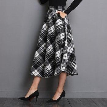 Neophil England Style Red Plaid High Waist Midi Skirts Woolen Plus Size 3XL A Line Pleated 2019 Winter Women Tartan Skirts S1735 3