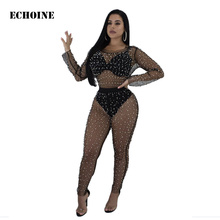 Sheer Mesh Beading Jumpsuit Sexy Transparent See Through Rompers Pearl Club Wear Outfit Party Playsuit Overalls