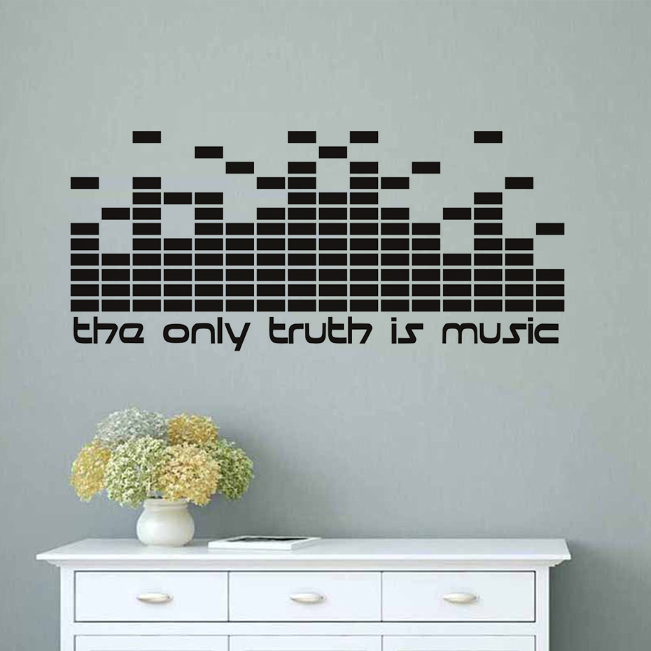 US $4 24 19% OFF|DIY The Only Truth Is Music Wall Decals Quotes DJ  Equalizer Studio Wall Decoration PVC Wall Stickers Home Decor Removable-in  Wall