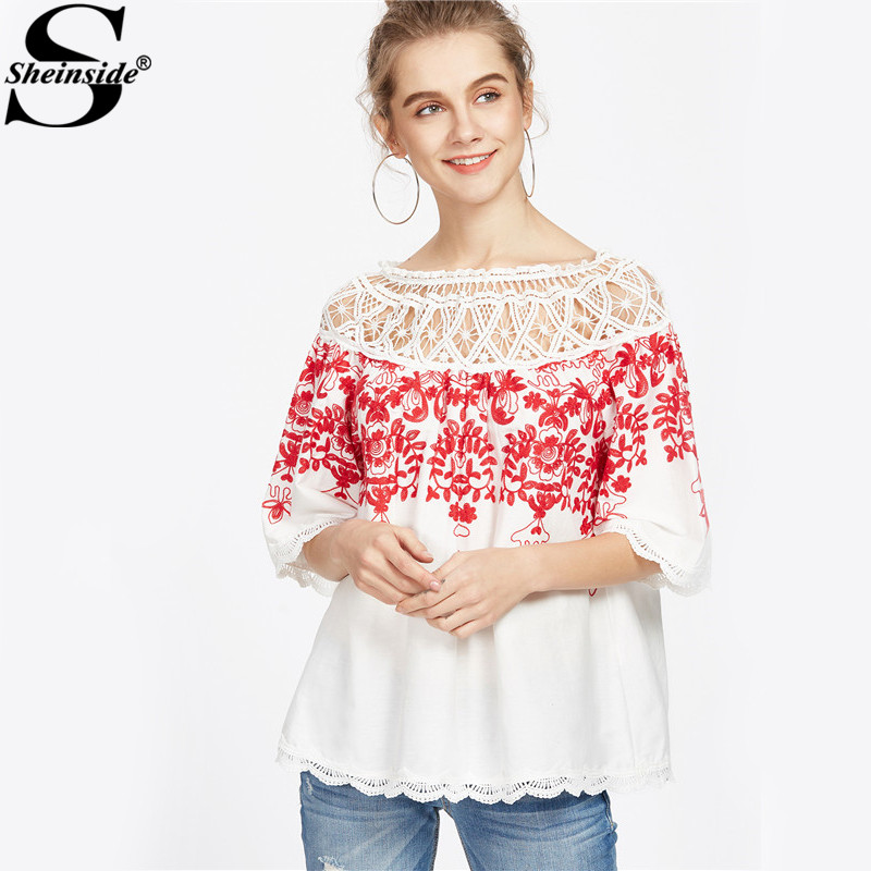 Sheinside Cute Crochet Blouse Women White Boho Embroidery Red Vine Vintage Summer Tops 2017 New Sexy