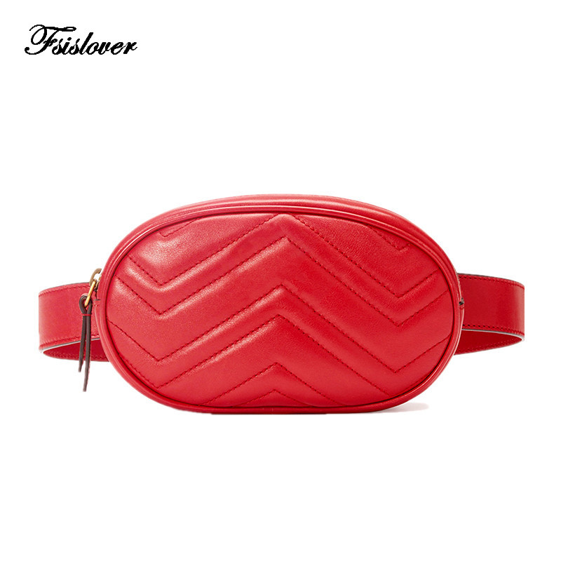 waist bag women Waist fanny Packs belt bag luxury brand leather chest handbag red black color 2018 new fashion hight quality