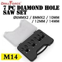 Drillforce 7PCS Diamond Hole Saws Set 6x2/8x2/10/12/14mm M14 Durable Carborundum Ceramics M14 Thread Drill Core