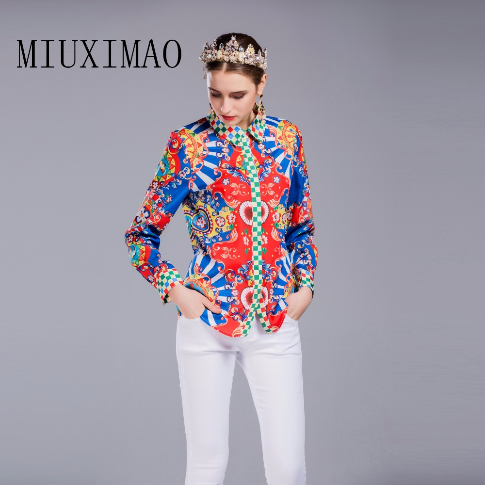 Latest Women Elegant Sleeve 2017 Best down Tops Quality Turn Arrival Collar Casual New Floral Printed Shirt Long Style Europe wqUR46xXB