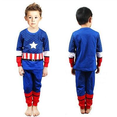 Blue Stripe Super Hero Captain America Cosplay Costume Kids Baby Boys Nightwear Pajamas Sleepwear 1-7Y