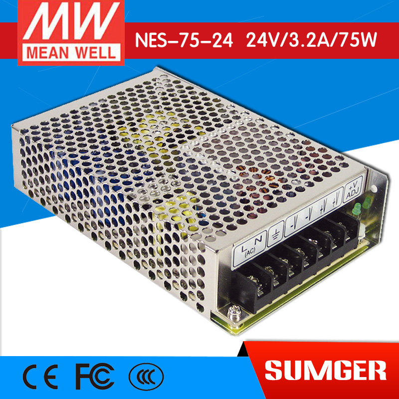 ФОТО [Freeshiping 2Pcs] MEAN WELL original NES-75-24 24V 3.2A meanwell NES-75 24V 76.8W Single Output Switching Power Supply