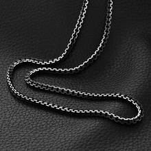 U7 Man Chain Black Stainless Steel Necklace 55CM 6MM Box Link Chain Men Necklaces High Quality Never Fade N514