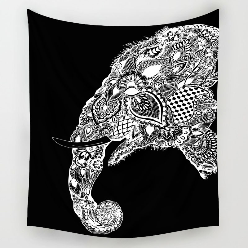 Comwarm Psychedelic Magical Indian Mandal Cashew Flowers Elephant Family Tapestry Polyester Wall Hanging Livingroom Decor Art