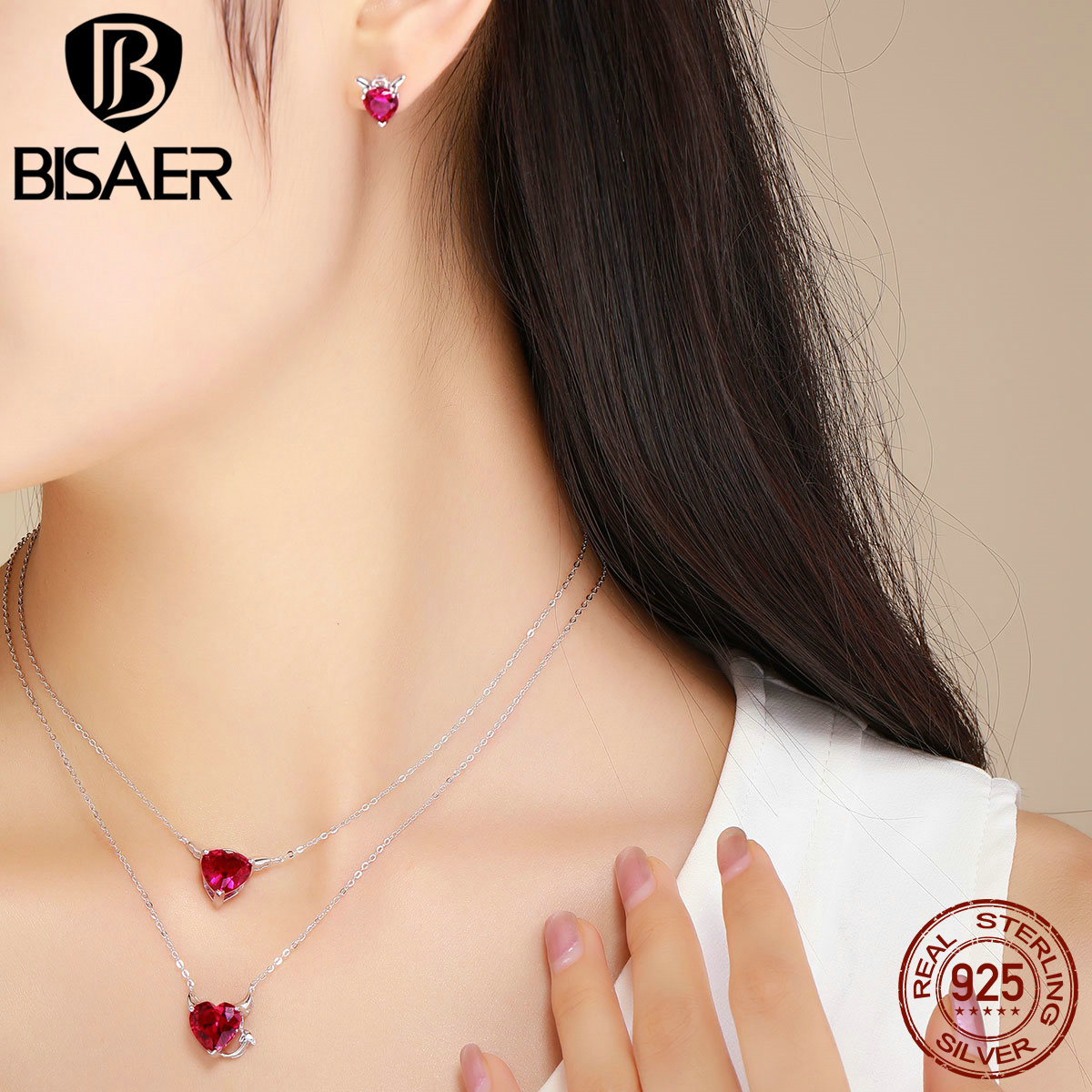 BISAER Silver Jewelry Sets 925 Sterling Silver Evil Angel Red CZ Necklace Earrings Jewelry Set Authentic Silver Jewelry WE067 new authentic 925 sterling silver evil eye luxury women fashion cz blue stone silver necklace