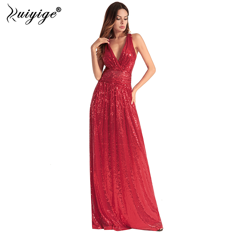 Ruiyige Frauen Backless Maxi Kleid Pailletten Sexy Party Prom Tiefem ...