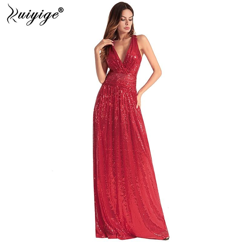Ruiyige Women Backless Maxi Dress Sequin Sexy Party Prom Deep V Neck Dresses 2018 Wedding Evening Elegant Long Vestidos robes