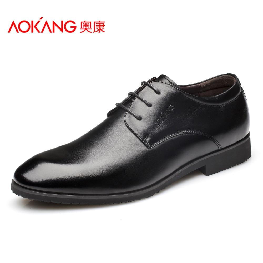 Aokang 2017 New Arrival Medium(b,m) Spring/autumn Lace-up Huarache Shoes Men New Arrival Genuine Men's Oxford Shoes Size37---47 meri huarache shoes