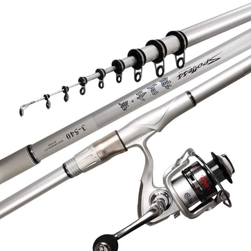 Canne à pêche télescopique à haute teneur en carbone de canne à pêche de roche de 3.6 M-6.3 M pour la canne à pêche de grand poisson Baitcasting tige de mer moyenne rapide B263