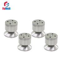 4pcs 60mm Height Adjustable Cabinet Legs Feet Silver Tone Stainless Steel Table Bed Sofa Level Feet