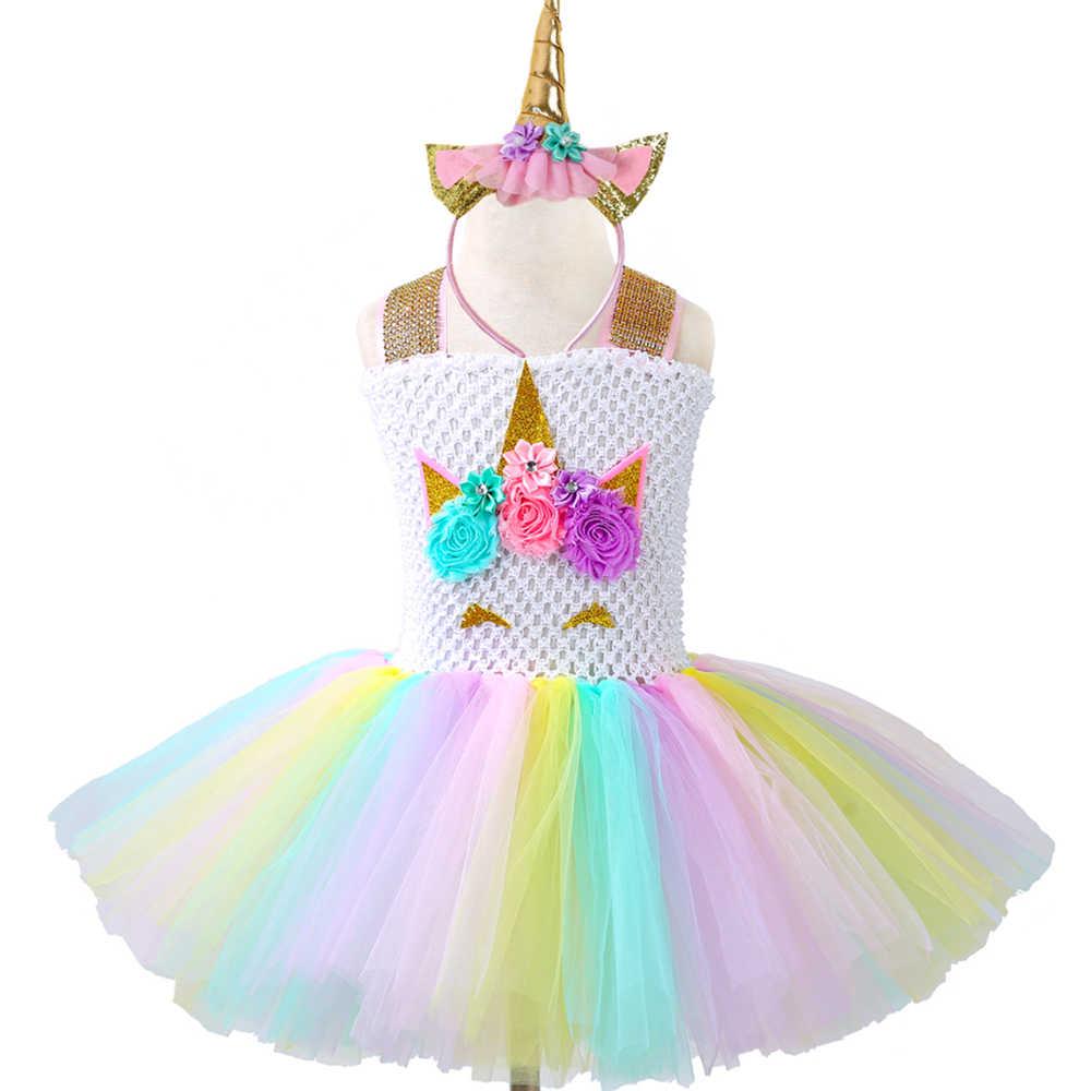 889354adaf0b Pastel Girls Unicorn Tutu Dress Princess Tulle Flower Girl Birthday Party  Dress Children Kids Pony Unicorn