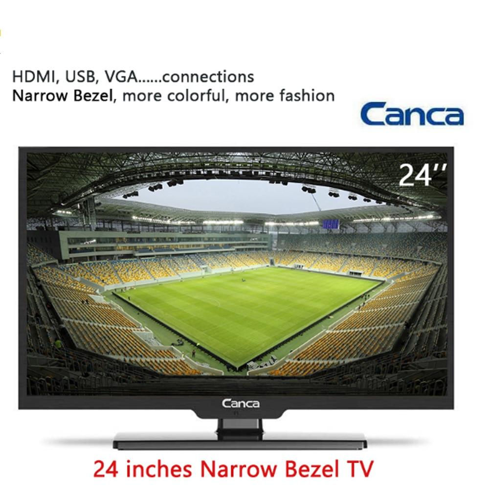 Free Shipping Canca 24inches TV 1080P Full HD HDMI/USB/AV/RF/VGA Multi-Interface Monitor Eyecare Elegant Narrow Support TV Box