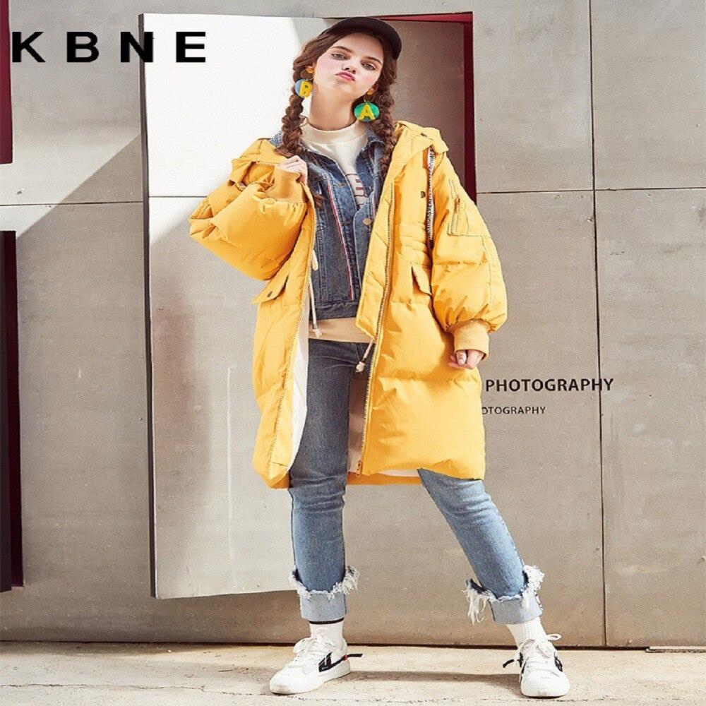 2018 Veste Kbne À Blanc Nouveau Genou Section Épaississement Sur Canard Duvet Capuchon Pain Green Yellow dark Femme De Doudoune Longue qnzPxttB