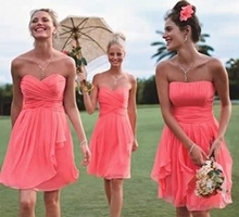 Fancy Two Style A and B Short Coral Bridesmaid Dresses 2015 Colored Wedding Party Dress