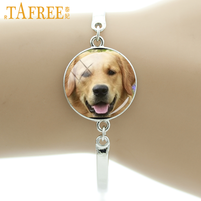 TAFREE Cute Dog Bracelet free-spirited Retriever Luby brown Labrador greyhound round Glass men women fashion lovely jewelry DG19