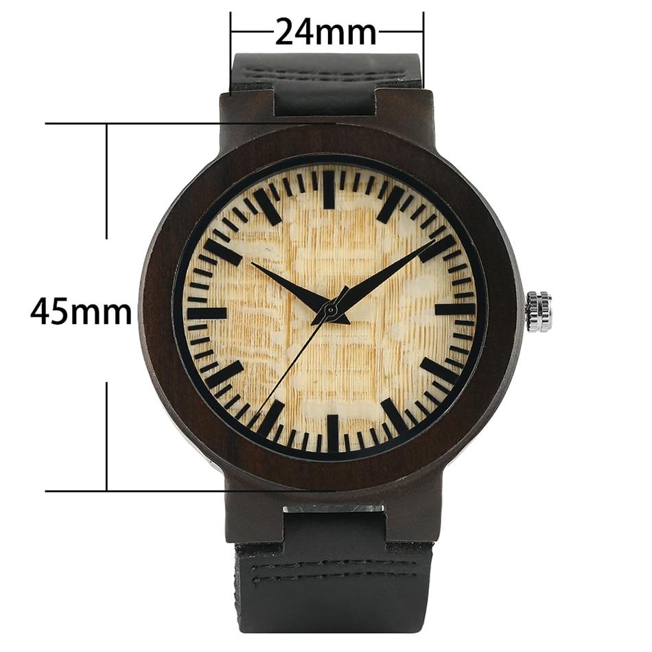 Loominguline puidust kella 2017 Minimalistlik kella bambusest nahast - Meeste käekellad - Foto 3